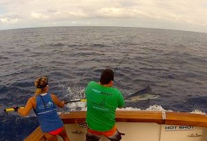 Tagging black marlin