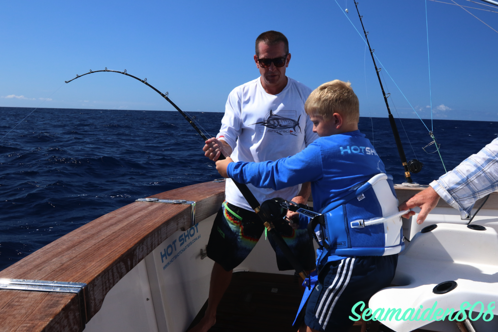 9yr old Augie's first marlin